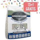 13 + 1 kg gratis! 14 kg Lettiera in argilla naturale Greenwoods con zeoliti