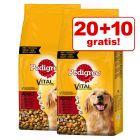 20 + 10 kg gratis! 30 kg Pedigree tørfoder