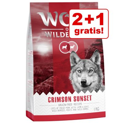 2 + 1 kg gratis! 3 kg Wolf of Wilderness Adult Red Classic