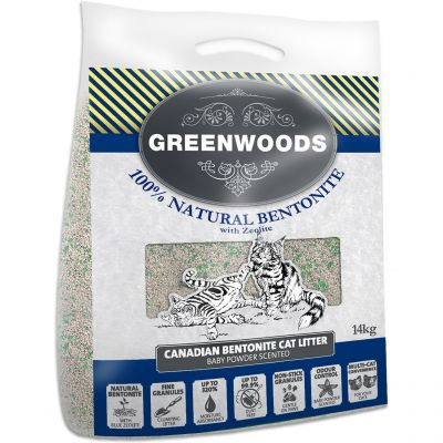 13kg Greenwoods Natural Clay Clumping Cat Litter with Zeolite + 1kg Free!*