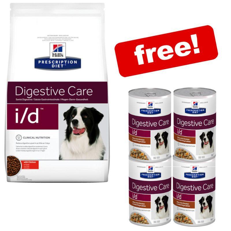 12kg Hill's Prescription Diet Canine Dry Dog Food + 4 x 354g Stews Free!*