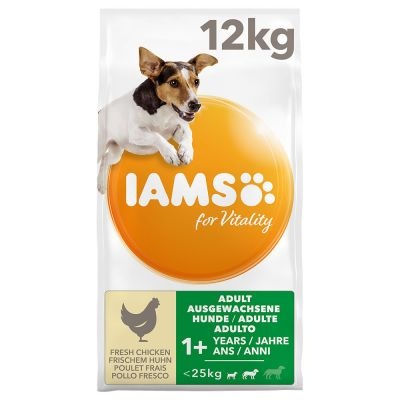 12 kg IAMS for Vitality Dog + 3 pz 8in1 Delights Bastoncini Manzo gratis!