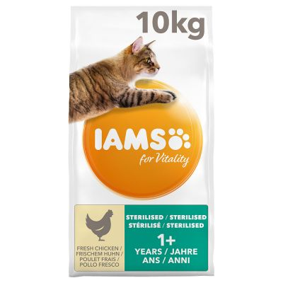 10kg IAMS for Vitality Dry Cat Food + 12 x 85g IAMS Delights Pouches Free!*