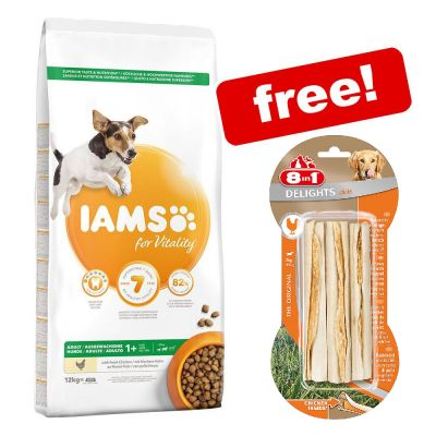 12kg IAMS Vitality Dry Dog Food + 3 x 75g 8in1 Delights Chews Sticks Free!*