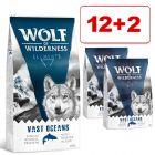 12 + 2 kg kaupan päälle! 14 kg Wolf of Wilderness -kuivaruoka