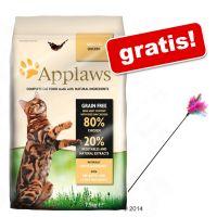 2 kg/1,8 kg Applaws + Wędka dla kota z kolorowymi piórkami gratis!