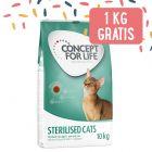 9 kg + 1 kg gratis! 10 kg Concept for Life per gatti