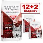 12 + 2 kg Δωρεάν! 14 kg Wolf of Wilderness Ξηρά Τροφή