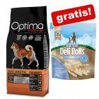 12 kg Optimanova Adult Trockenfutter + 190 g Barkoo Deli Rolls Dental Snacks gratis!