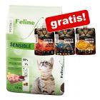 10 kg Porta 21 Feline Finest Sensible + 3 x 90 g Kitty's Cream Mixpack gratis!