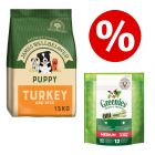 15kg Puppy/Junior James Wellbeloved Dry Food + Greenies Chews - Bundle!*