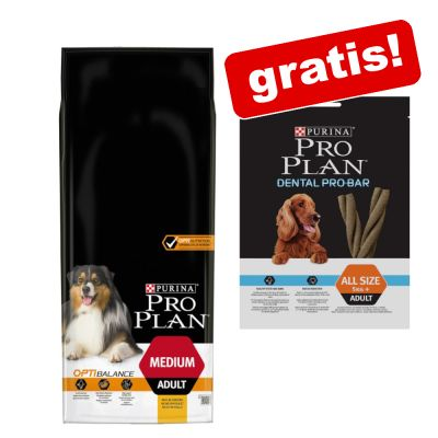 14 kg PURINA PRO PLAN Droogvoer + 150 g Dental Pro Bar Snacks gratis!