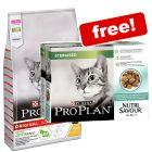 10kg Purina Pro Plan Dry Cat Food + 10 x 85g Nutrisavour Sterilised- Free!*