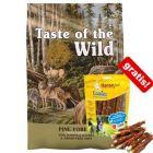 12,2 kg Taste of the Wild krmivo + 200 g Cookies Delikatess žvýkací rolka s kuřecími plátky