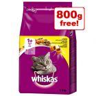 3kg Whiskas Dry Cat Food + 800g Free!*