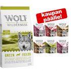 12 kg Wolf of Wilderness -kuivaruokaa + 6 x 300 g märkäruokasekoitus kaupan päälle!