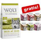 12 kg Wolf of Wilderness + 6 x 300 g mokre hrane gratis!