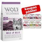 12 kg Wolf of Wilderness + 6 x 300 g märkäruokasekoitus kaupan päälle!