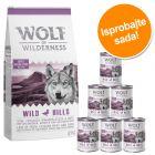 12 kg Wolf of Wilderness + 6 x 400 g / 6 x 800 g mokra hrana