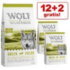 12 + 2 kg zdarma! 14 kg Wolf of Wilderness granuly