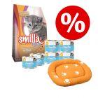 Killingepakke: Smilla Kitten tør- og vådfoder + katteseng