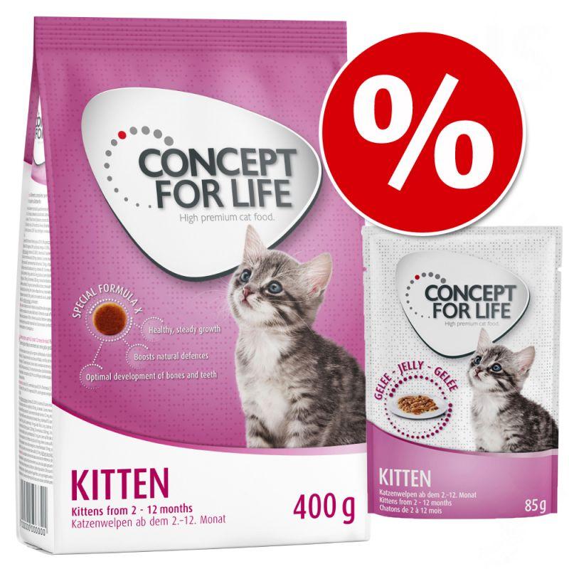 Kitten Starter Kit: 400g Concept for Life Dry Food + 12 x 85g Wet Food