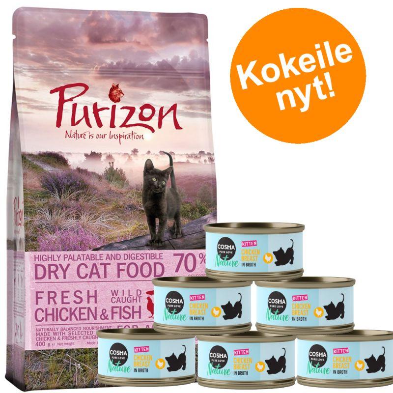 Kitten-kokeilupakkaus: Purizon 400g  & Cosma Nature 6 x 70g