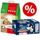 1 klik pakiranje: 20 l Cat's Best Original + Felix mokra hrana
