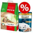1-klik pakke: 20 l Cat's Best Øko / Original + Gourmet Perle vådfoder