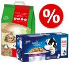 1-klik pakke: 20 l Cat's Best Øko/ Original grus + Latz vådfoder