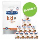 Kombipakke: tørrfôr + Hill's Prescription Diet k/d poser for katt