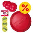 KONG Hundespielzeug-Set: Frisbee, KONG Classic, Tennisbälle