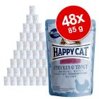 Økonomipakke: 48 x 85 g Happy Cat Pouch All Meat