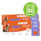 Økonomipakke IAMS Delights Adult i gelè eller saus 96 x 85 g