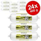 Korzystny pakiet Wolf of Wilderness Adult, 24 x 400 g, kiełbaski