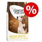 50 kr rabatt! 12 kg Concept for Life tørrfôr for hunder