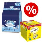 18L Catsan Hygiene Plus Cat Litter + Dreamies Variety Box - Bundle Price!*