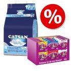 18 l Catsan Hygiene plus pijesak za mačke + 24 x 60 g Whiskas hrskavi jastučići XXL