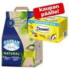 20 l Catsan Natural -kissanhiekka + 4 x 30 g Dreamies Selection Box -herkut kaupan päälle!