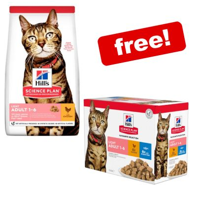 Large Bags Hill's Science Plan Dry Cat Food + 12 x 85g Wet Pouches Free!*