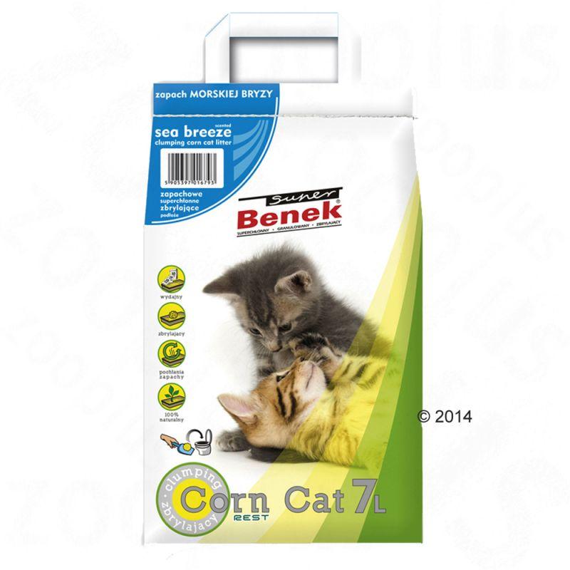 Litière Super Benek Corn Cat fraîcheur marine pour chat