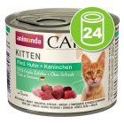 Lot Animonda Carny Kitten 24 x 200 g pour chaton