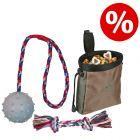 Lot ! Balle en caoutchouc avec corde + Corde noeud multicolore + Dog Activity Baggy Deluxe
