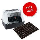 Lot : cage de transport Ferplast Atlas Car + tapis Vetbed® Isobed SL, noir pattes grises pour chien