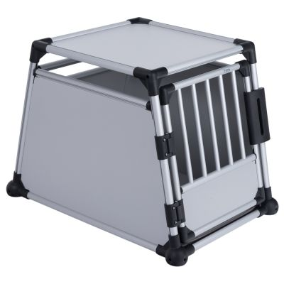 Lot : cage de transport Trixie en aluminium, gris clair + protection pour pare-chocs Rollmat