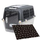 Lot : cage de transport Trixie Gulliver + tapis Vetbed® Isobed SL, noir pattes grises pour chien
