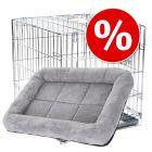 Lot : cage d'intérieur Double Door + coussin pour chien