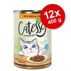 Lot Catessy Bouchées en sauce ou en gelée 12 x 400 g pour chat