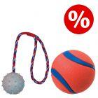 Lot ! Chuckit! Ultra Ball + Trixie Balle en caoutchouc avec corde