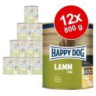 Lot de boîtes Happy Dog Pur 12 x 800g pour chien